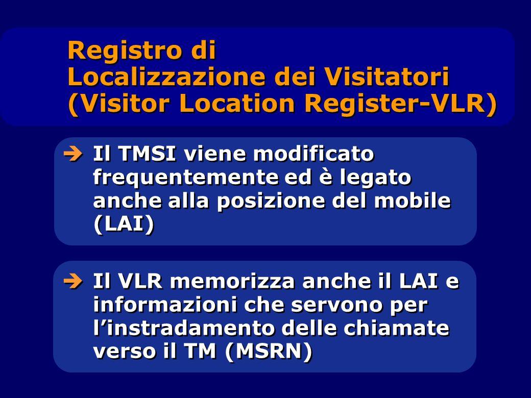 Il TMSI viene modificato frequentemente ed è legato anche alla posizione del mobile (LAI) Registro di Localizzazione dei Visitatori (Visitor Location