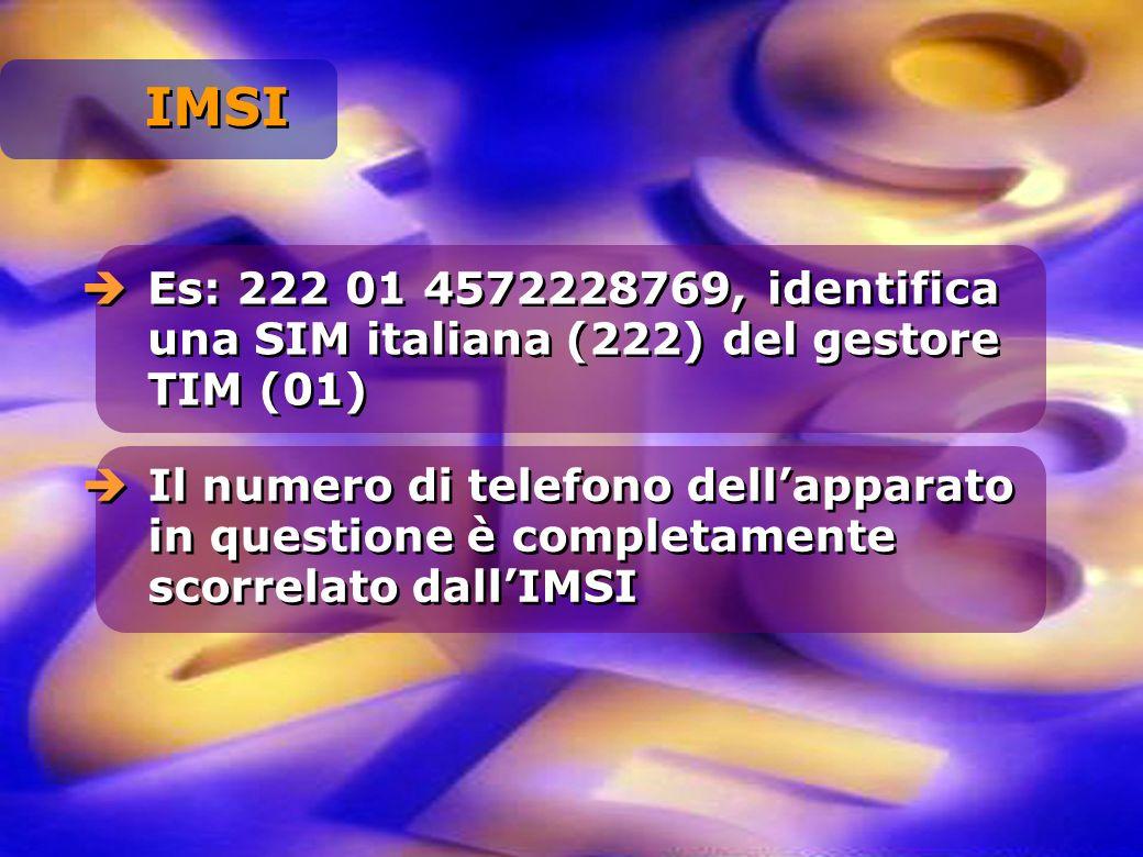 Es: 222 01 4572228769, identifica una SIM italiana (222) del gestore TIM (01) Il numero di telefono dellapparato in questione è completamente scorrela