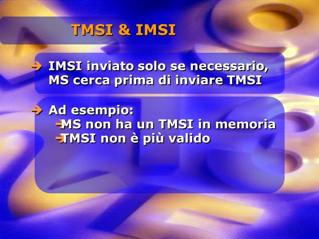 IMSI inviato solo se necessario, MS cerca prima di inviare TMSI Ad esempio: MS non ha un TMSI in memoria TMSI non è più valido Ad esempio: MS non ha u