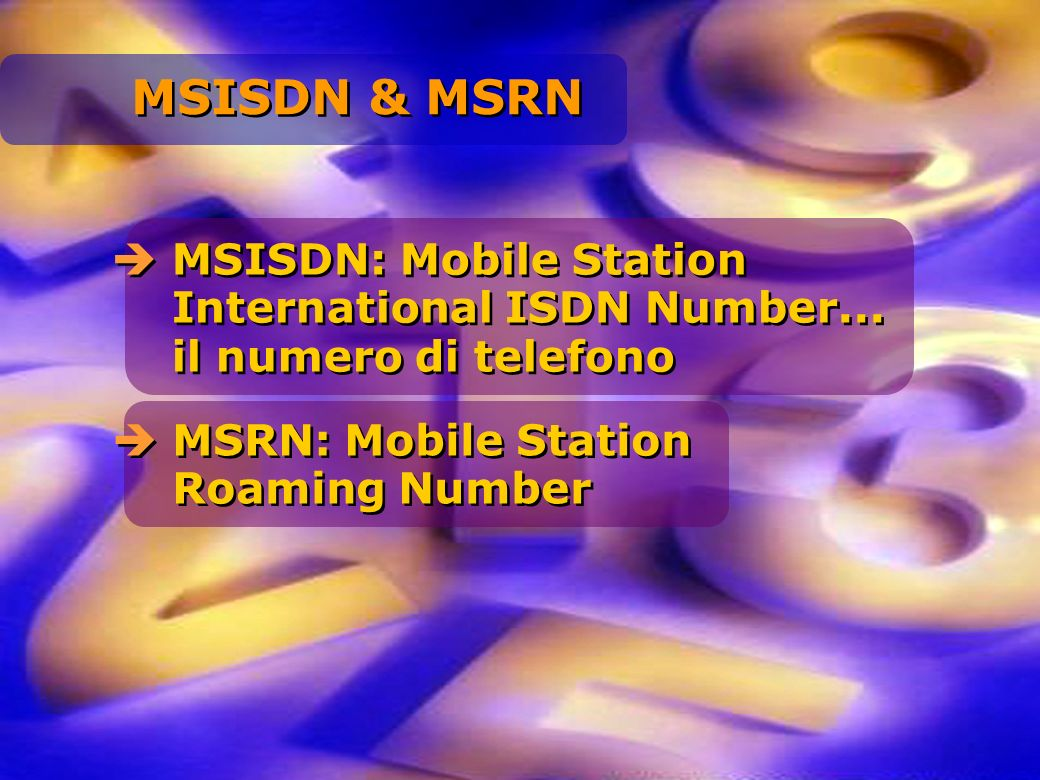 MSISDN: Mobile Station International ISDN Number... il numero di telefono MSRN: Mobile Station Roaming Number MSISDN & MSRN