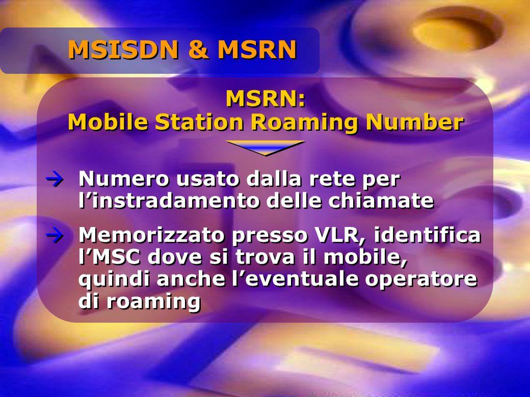 MSRN: Mobile Station Roaming Number MSRN: Mobile Station Roaming Number Numero usato dalla rete per linstradamento delle chiamate Memorizzato presso V