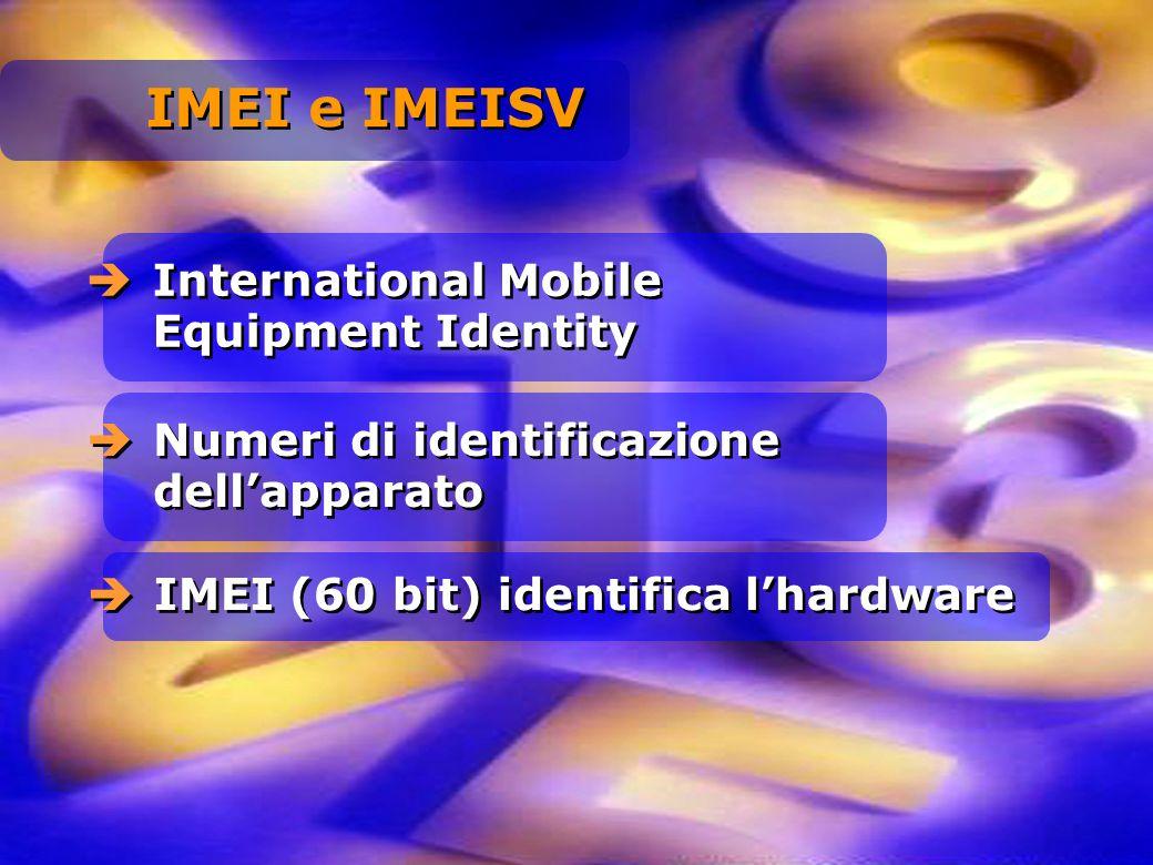 International Mobile Equipment Identity Numeri di identificazione dellapparato IMEI (60 bit) identifica lhardware IMEI e IMEISV