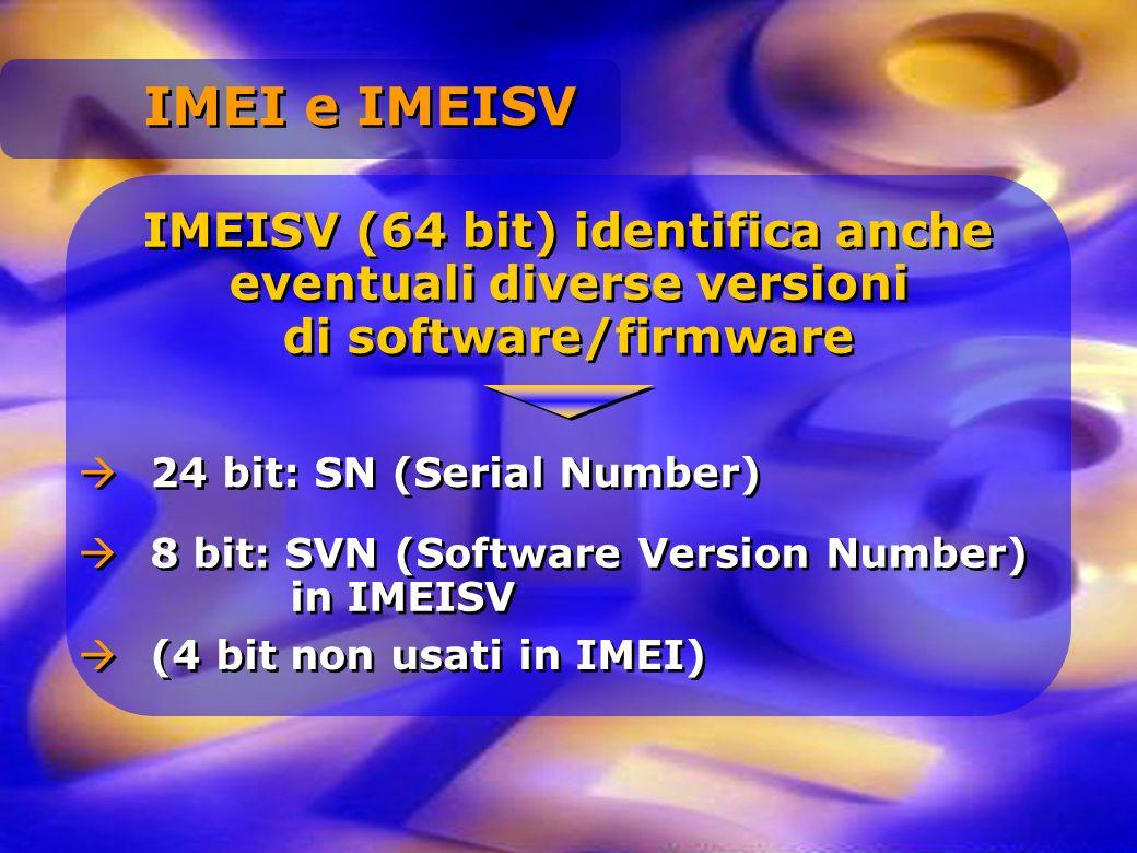 IMEISV (64 bit) identifica anche eventuali diverse versioni di software/firmware 24 bit: SN (Serial Number) 8 bit: SVN (Software Version Number) in IM