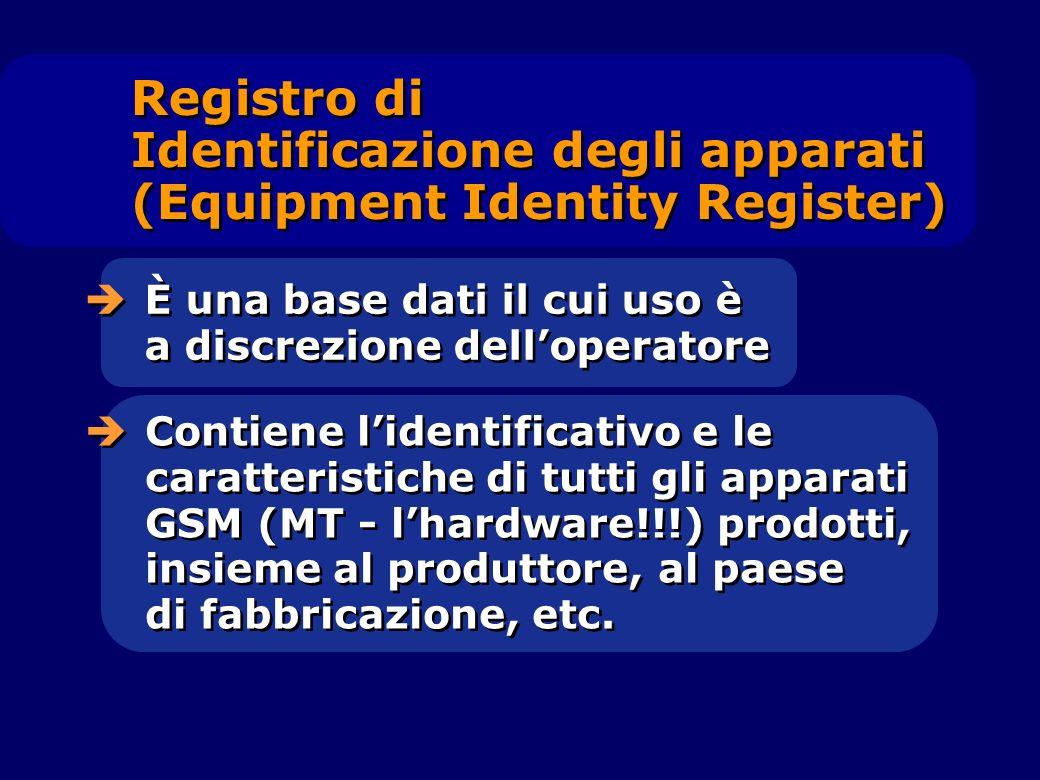È una base dati il cui uso è a discrezione delloperatore Contiene lidentificativo e le caratteristiche di tutti gli apparati GSM (MT - lhardware!!!) p