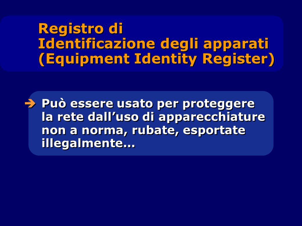 Può essere usato per proteggere la rete dalluso di apparecchiature non a norma, rubate, esportate illegalmente... Registro di Identificazione degli ap