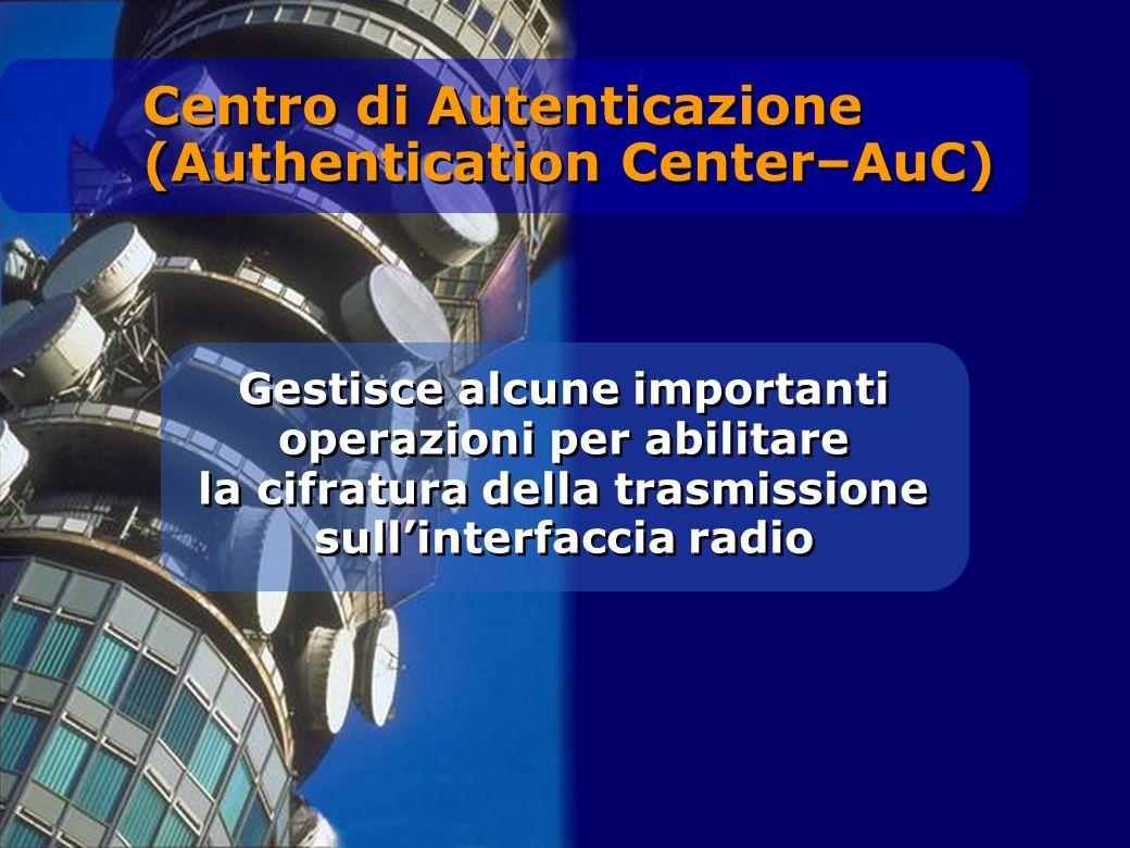 Gestisce alcune importanti operazioni per abilitare la cifratura della trasmissione sullinterfaccia radio Centro di Autenticazione (Authentication Cen