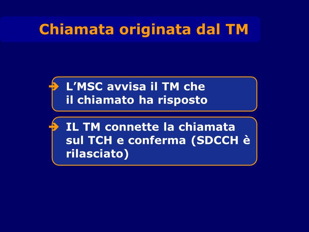Chiamata originata dal TM LMSC avvisa il TM che il chiamato ha risposto IL TM connette la chiamata sul TCH e conferma (SDCCH è rilasciato)