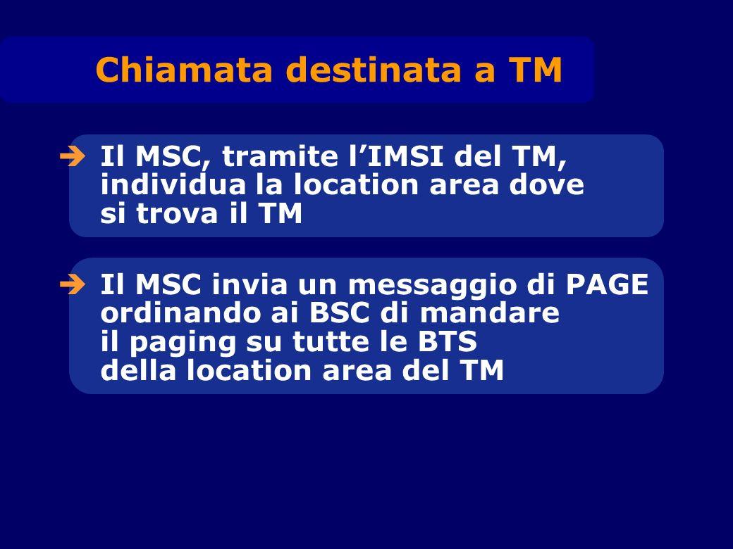 Il MSC, tramite lIMSI del TM, individua la location area dove si trova il TM Il MSC invia un messaggio di PAGE ordinando ai BSC di mandare il paging s