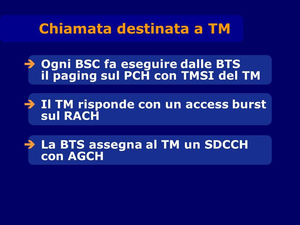Ogni BSC fa eseguire dalle BTS il paging sul PCH con TMSI del TM Il TM risponde con un access burst sul RACH La BTS assegna al TM un SDCCH con AGCH Ch