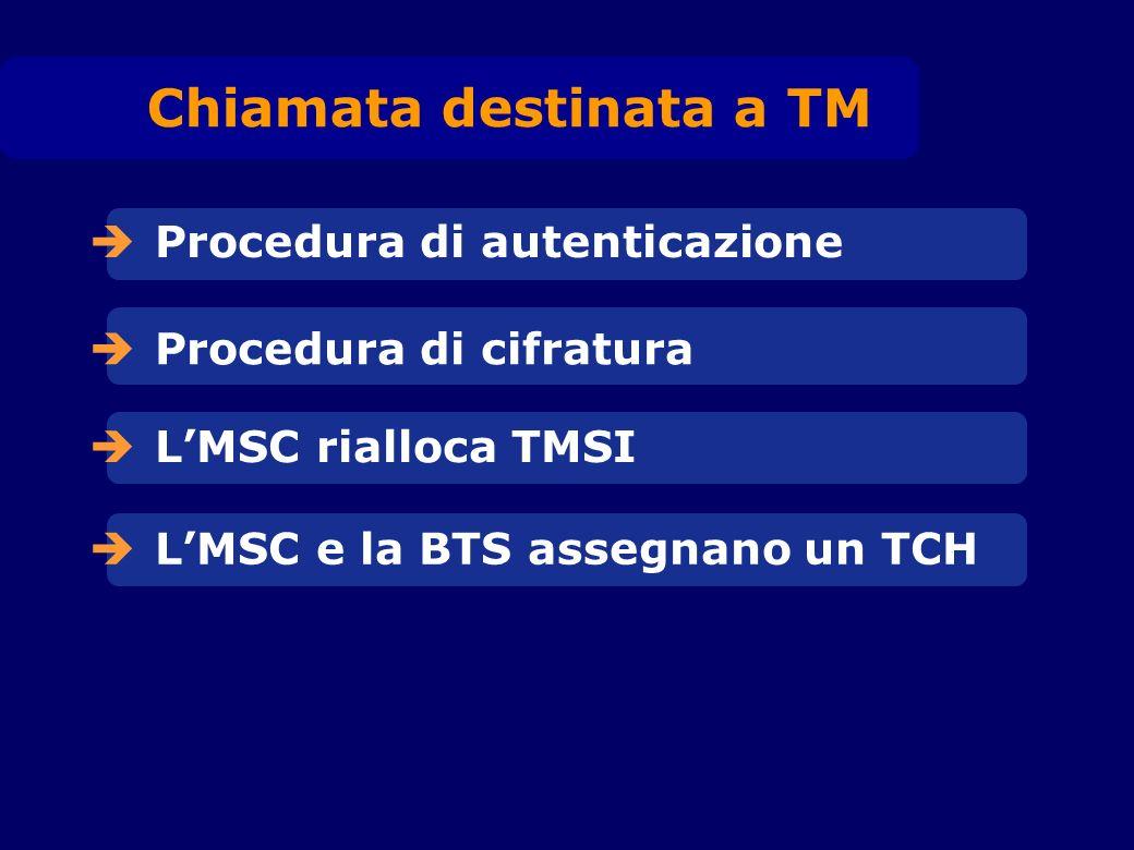 Procedura di autenticazione Procedura di cifratura LMSC rialloca TMSI LMSC e la BTS assegnano un TCH Chiamata destinata a TM