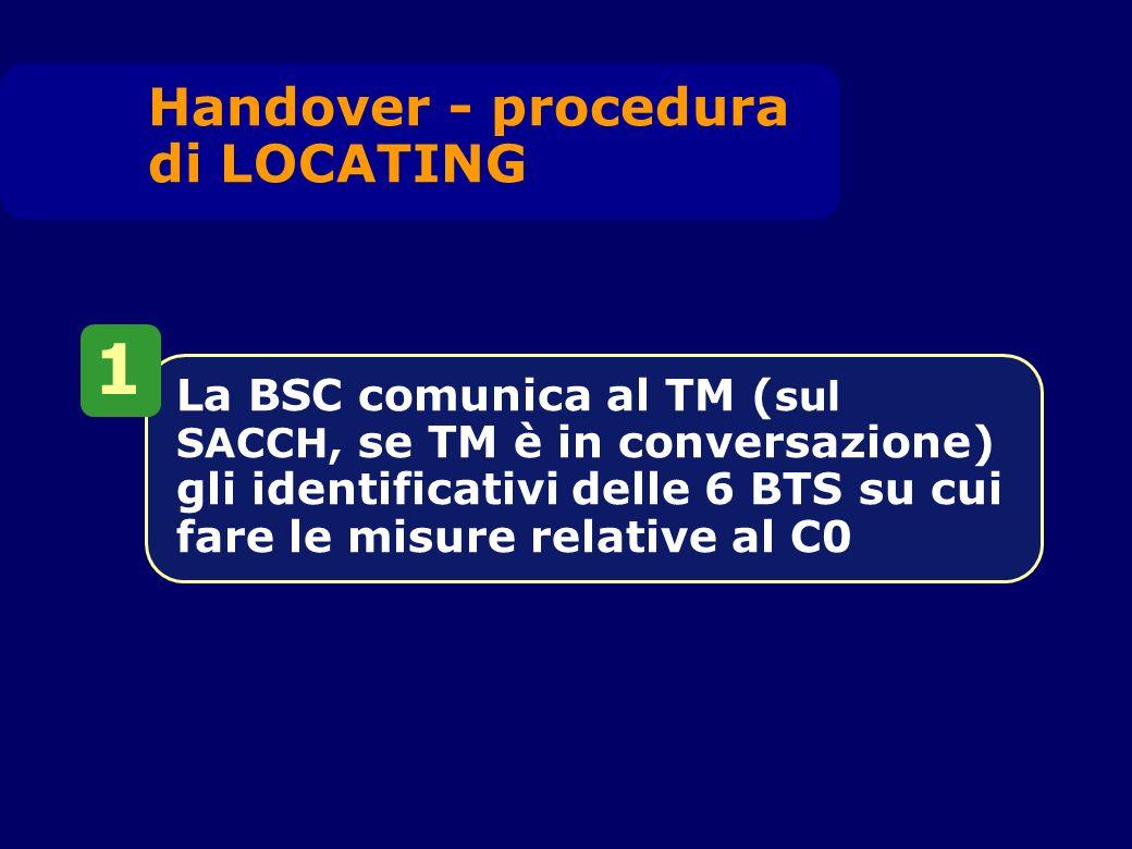 La BSC comunica al TM ( sul SACCH, se TM è in conversazione) gli identificativi delle 6 BTS su cui fare le misure relative al C0 1 Handover - procedur