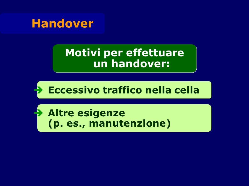 Eccessivo traffico nella cella Altre esigenze (p. es., manutenzione) Handover Motivi per effettuare un handover: