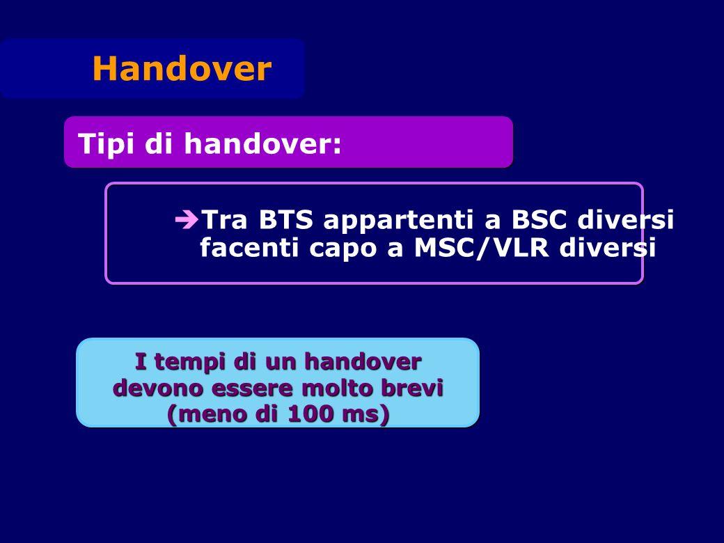 I tempi di un handover devono essere molto brevi (meno di 100 ms) Tipi di handover: Tra BTS appartenti a BSC diversi facenti capo a MSC/VLR diversi Ha