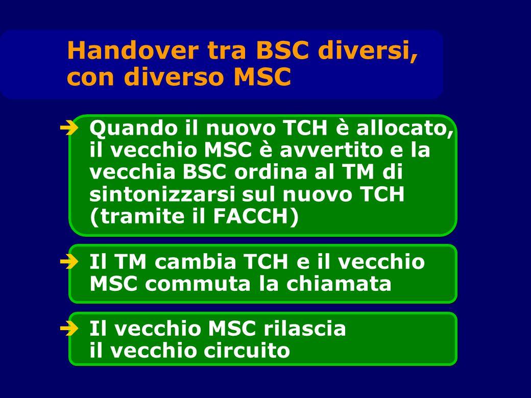 Quando il nuovo TCH è allocato, il vecchio MSC è avvertito e la vecchia BSC ordina al TM di sintonizzarsi sul nuovo TCH (tramite il FACCH) Il TM cambi