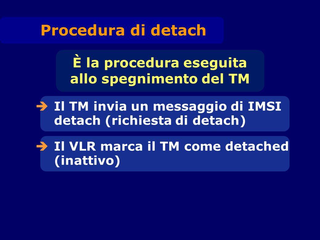 Il TM invia un messaggio di IMSI detach (richiesta di detach) È la procedura eseguita allo spegnimento del TM Il VLR marca il TM come detached (inatti
