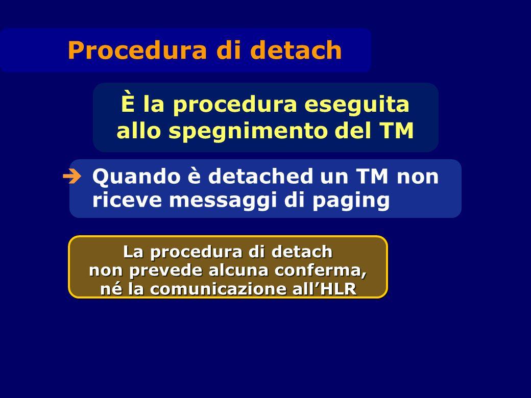 Quando è detached un TM non riceve messaggi di paging È la procedura eseguita allo spegnimento del TM La procedura di detach non prevede alcuna confer