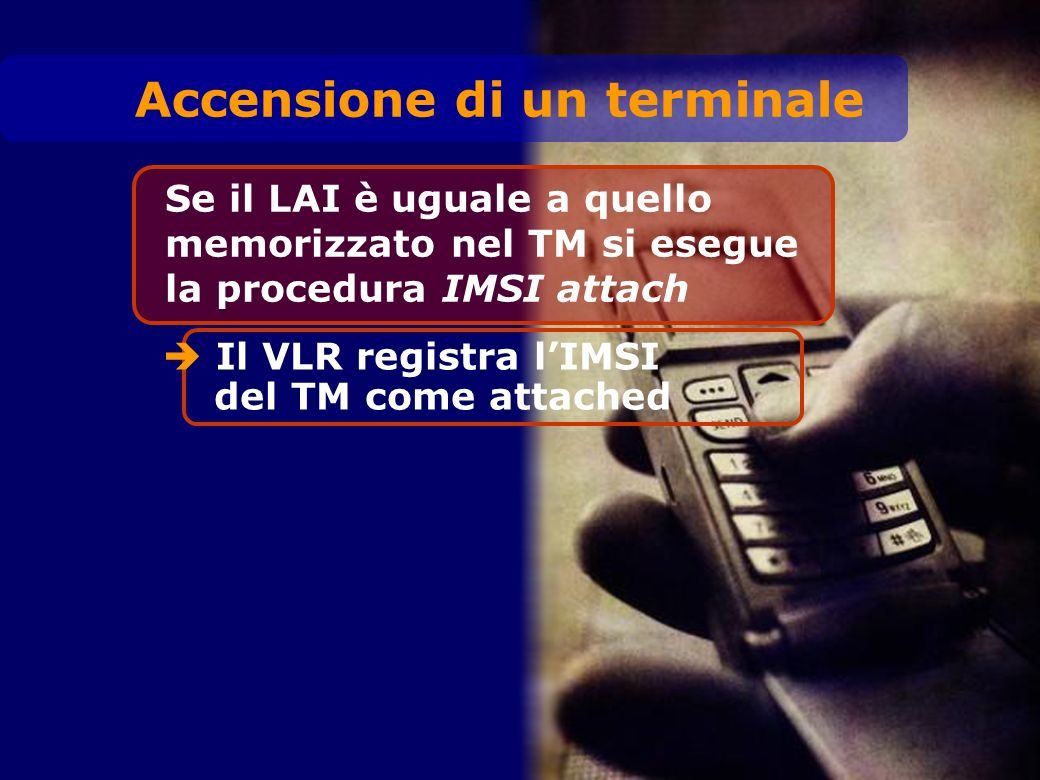 Se il LAI è uguale a quello memorizzato nel TM si esegue la procedura IMSI attach Il VLR registra lIMSI del TM come attached Accensione di un terminal