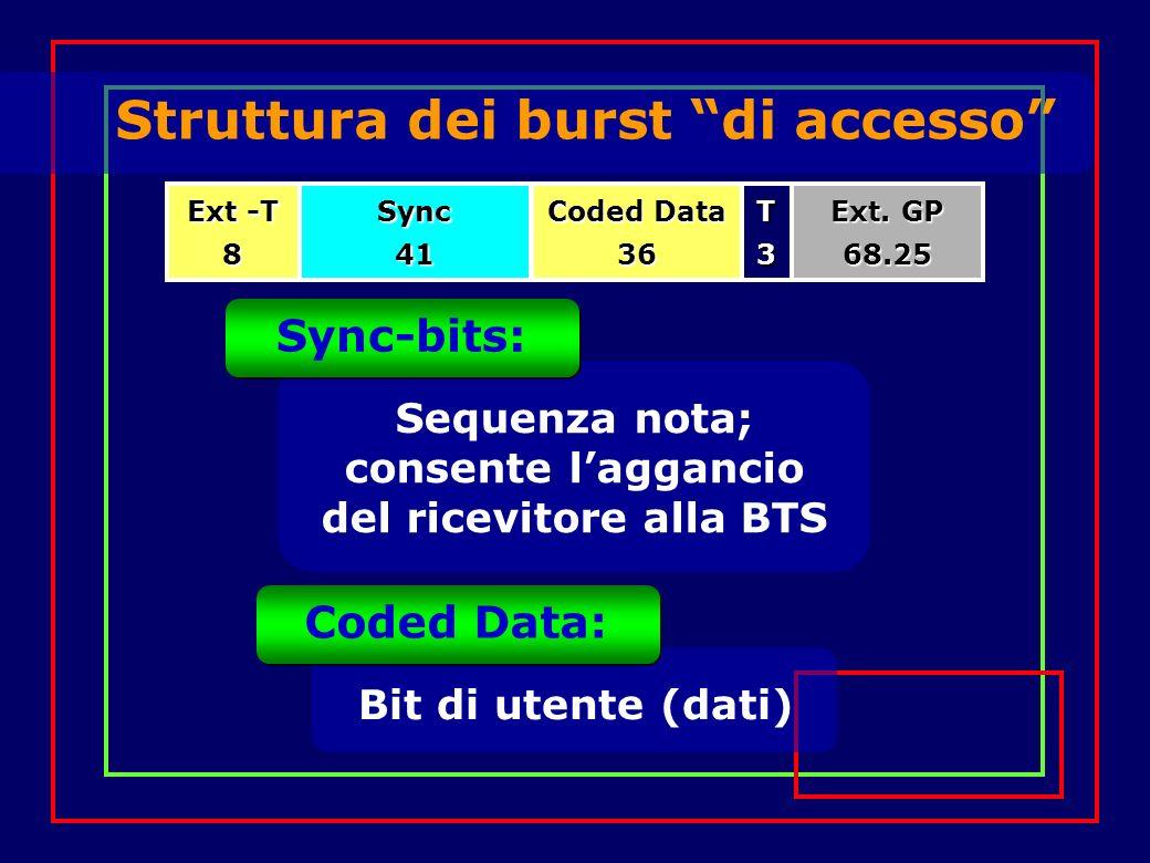 Struttura dei burst di accesso Ext -T 8Sync41T3 Coded Data 36 Ext.