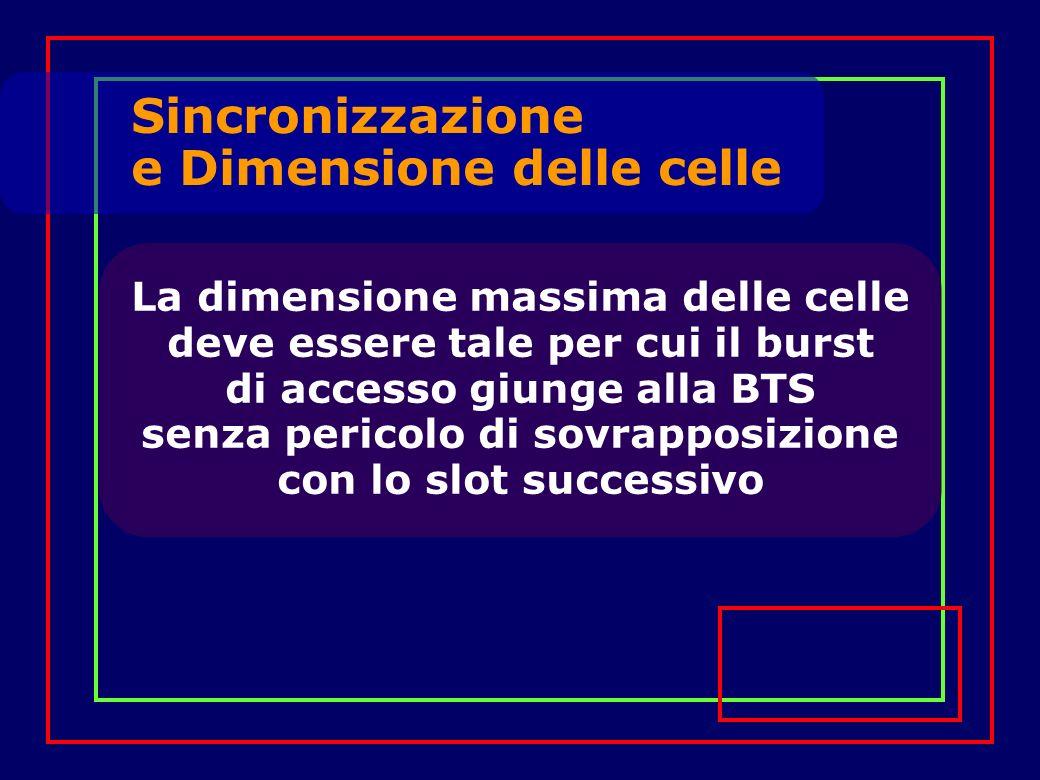 La dimensione massima delle celle deve essere tale per cui il burst di accesso giunge alla BTS senza pericolo di sovrapposizione con lo slot successivo Sincronizzazione e Dimensione delle celle