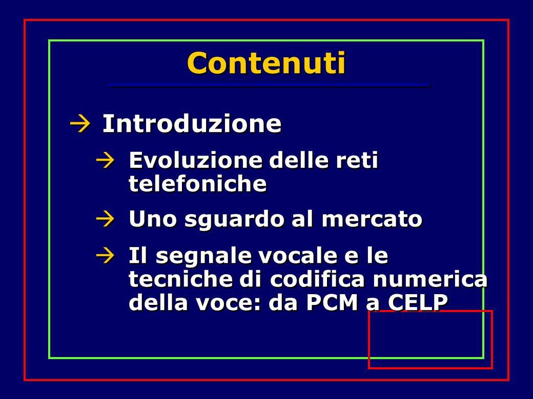 Contenuti Introduzione Evoluzione delle reti telefoniche Uno sguardo al mercato Il segnale vocale e le tecniche di codifica numerica della voce: da PC