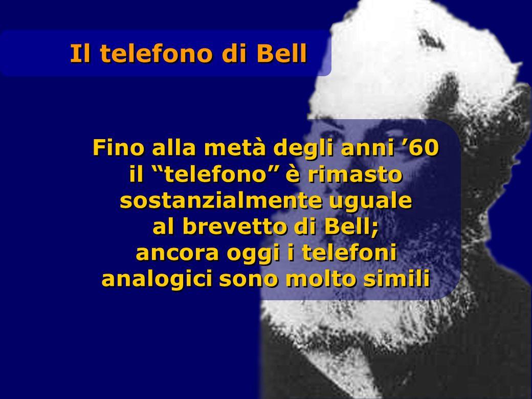 Il telefono di Bell Fino alla metà degli anni 60 il telefono è rimasto sostanzialmente uguale al brevetto di Bell; ancora oggi i telefoni analogici so
