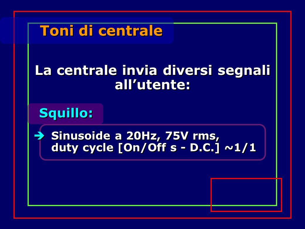 Toni di centrale Squillo: Sinusoide a 20Hz, 75V rms, duty cycle [On/Off s - D.C.] ~1/1 La centrale invia diversi segnali allutente: La centrale invia