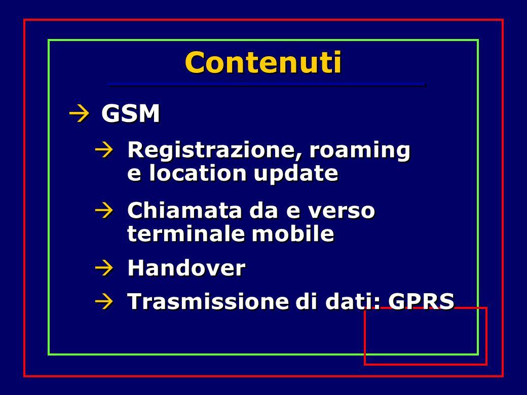 Contenuti GSM Registrazione, roaming e location update Chiamata da e verso terminale mobile Handover Trasmissione di dati: GPRS