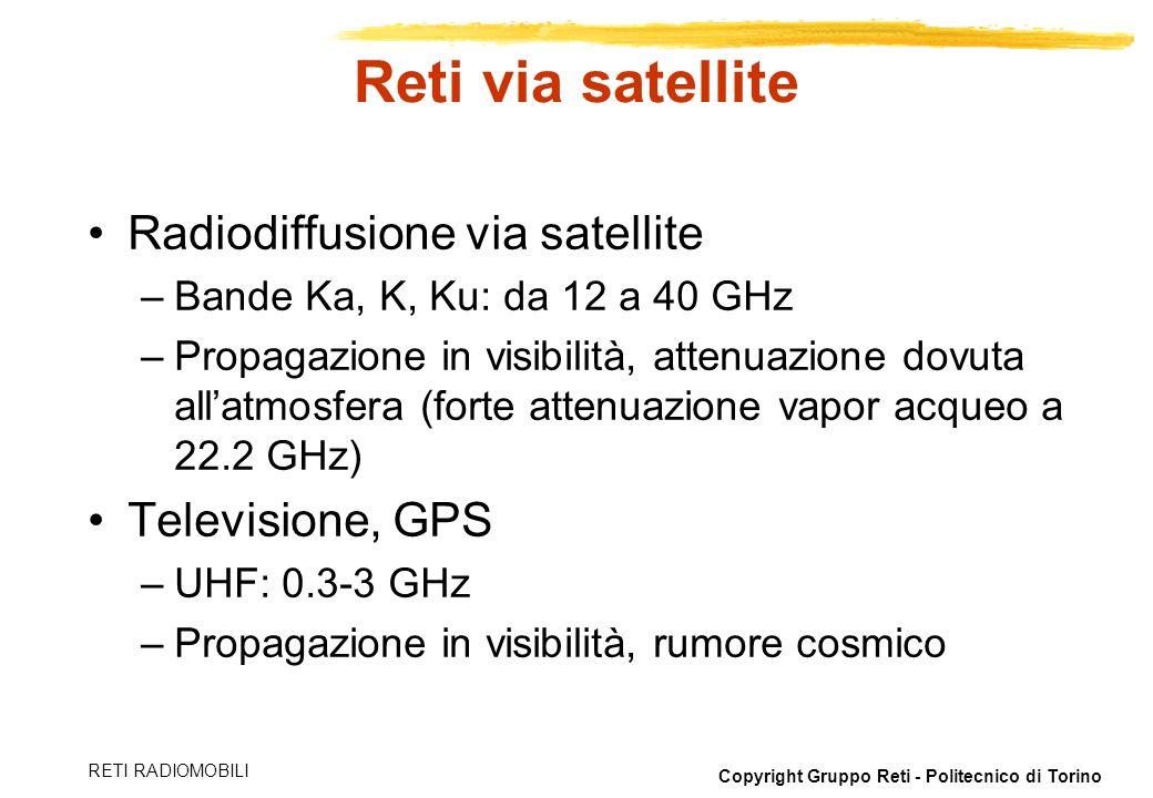 Copyright Gruppo Reti - Politecnico di Torino RETI RADIOMOBILI Reti via satellite Radiodiffusione via satellite –Bande Ka, K, Ku: da 12 a 40 GHz –Prop