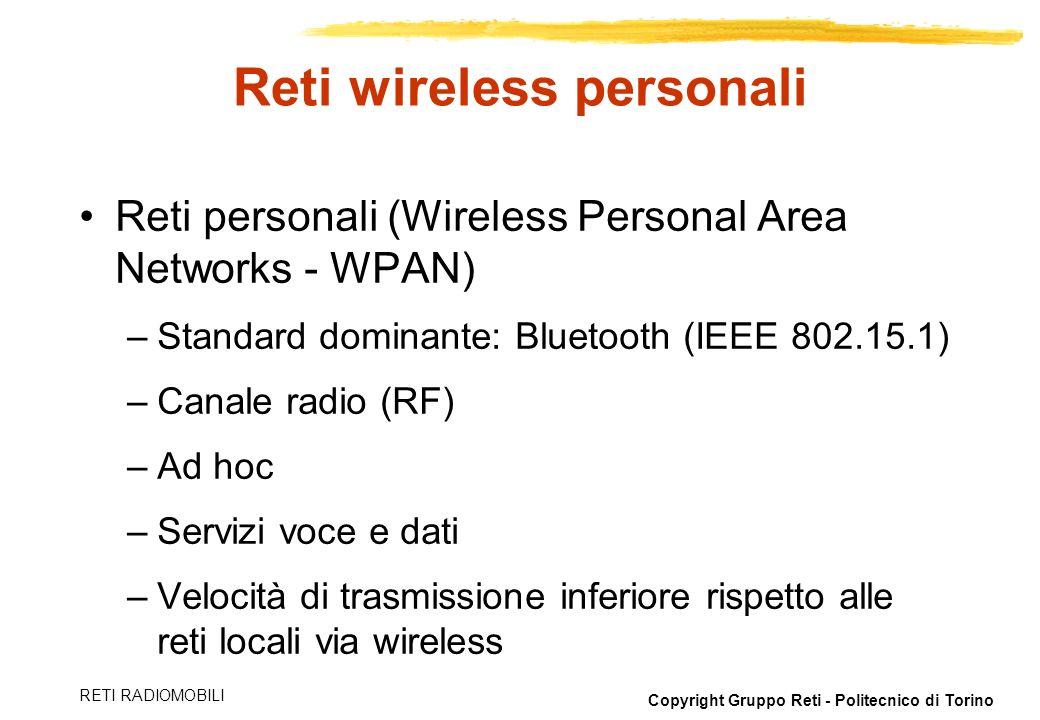 Copyright Gruppo Reti - Politecnico di Torino RETI RADIOMOBILI Reti wireless personali Reti personali (Wireless Personal Area Networks - WPAN) –Standa