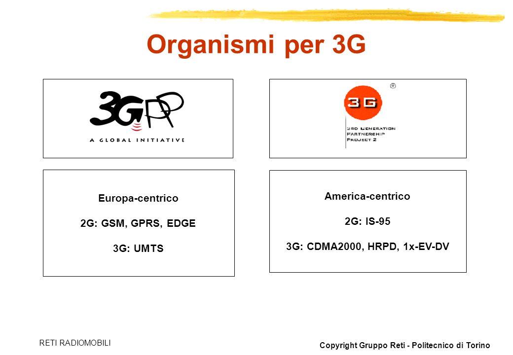 Copyright Gruppo Reti - Politecnico di Torino RETI RADIOMOBILI Organismi per 3G Europa-centrico 2G: GSM, GPRS, EDGE 3G: UMTS America-centrico 2G: IS-9