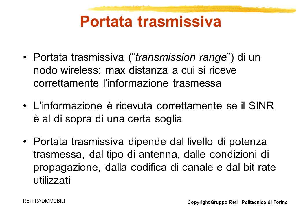 Copyright Gruppo Reti - Politecnico di Torino RETI RADIOMOBILI Reti via satellite Radiodiffusione via satellite –Bande Ka, K, Ku: da 12 a 40 GHz –Propagazione in visibilità, attenuazione dovuta allatmosfera (forte attenuazione vapor acqueo a 22.2 GHz) Televisione, GPS –UHF: 0.3-3 GHz –Propagazione in visibilità, rumore cosmico