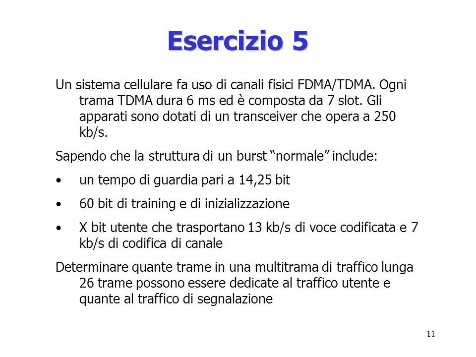 11 Esercizio 5 Un sistema cellulare fa uso di canali fisici FDMA/TDMA.