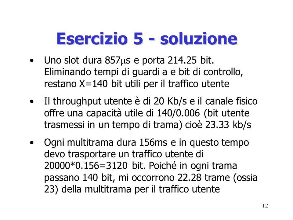 12 Esercizio 5 - soluzione Uno slot dura 857 s e porta 214.25 bit.