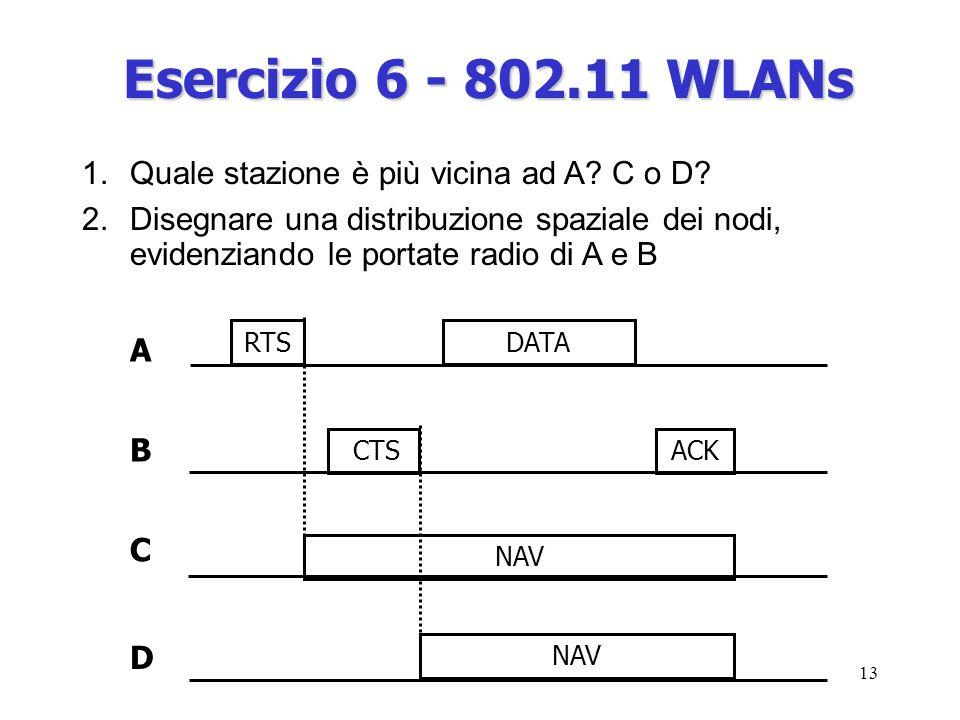 13 A ACK DATARTS CTS NAV B C D 1.Quale stazione è più vicina ad A.