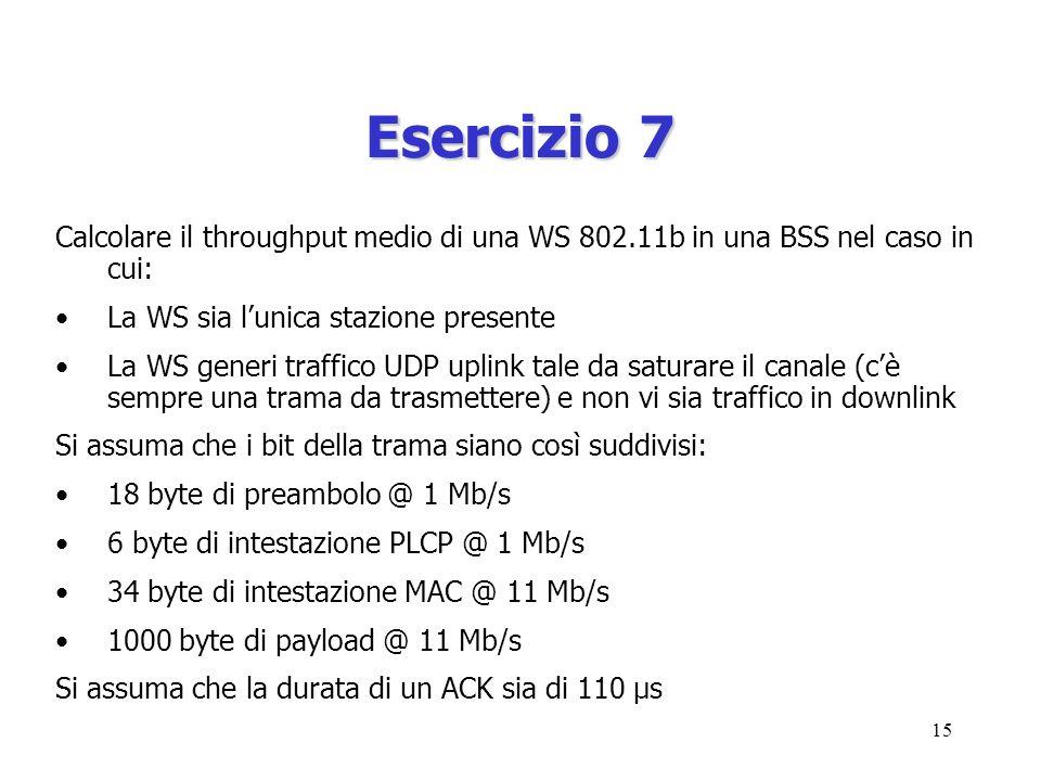 15 Esercizio 7 Calcolare il throughput medio di una WS 802.11b in una BSS nel caso in cui: La WS sia lunica stazione presente La WS generi traffico UDP uplink tale da saturare il canale (cè sempre una trama da trasmettere) e non vi sia traffico in downlink Si assuma che i bit della trama siano così suddivisi: 18 byte di preambolo @ 1 Mb/s 6 byte di intestazione PLCP @ 1 Mb/s 34 byte di intestazione MAC @ 11 Mb/s 1000 byte di payload @ 11 Mb/s Si assuma che la durata di un ACK sia di 110 μs