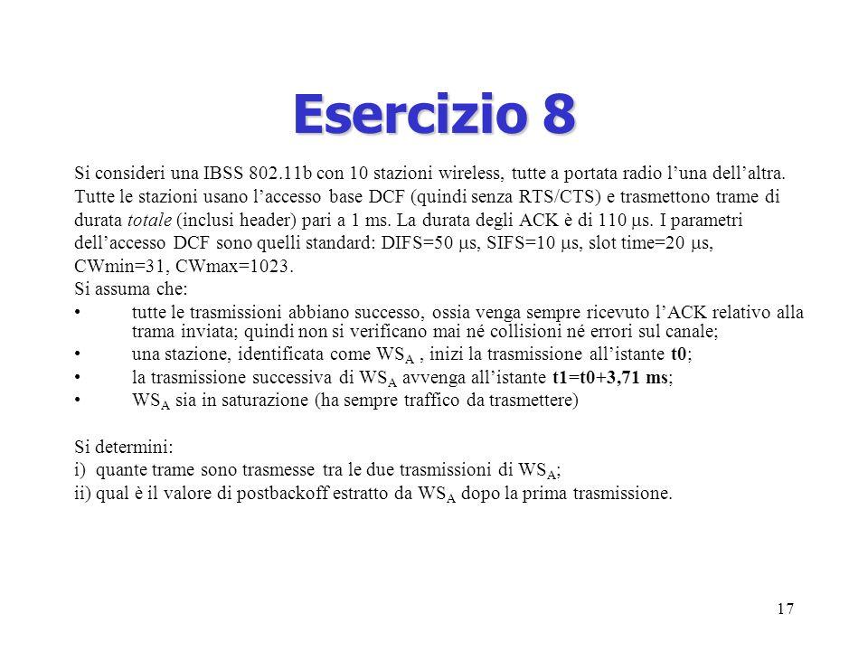 17 Esercizio 8 Si consideri una IBSS 802.11b con 10 stazioni wireless, tutte a portata radio luna dellaltra.