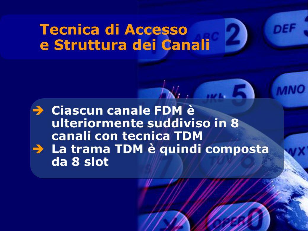 Ciascun canale FDM è ulteriormente suddiviso in 8 canali con tecnica TDM La trama TDM è quindi composta da 8 slot Tecnica di Accesso e Struttura dei Canali