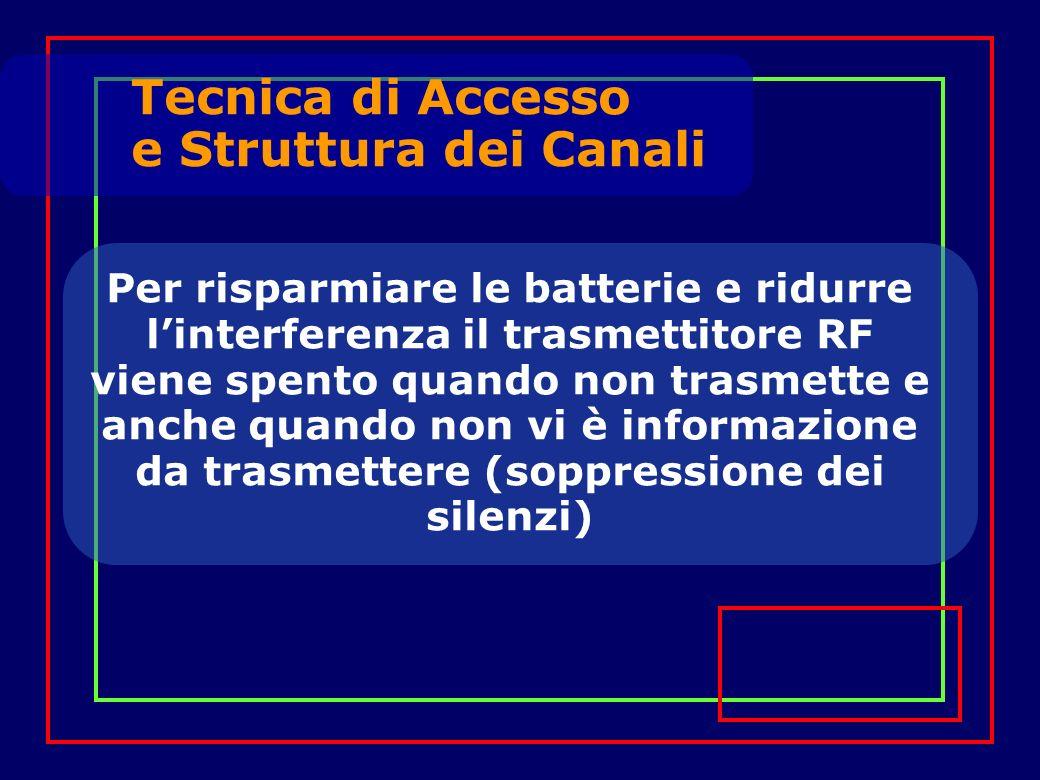Per risparmiare le batterie e ridurre linterferenza il trasmettitore RF viene spento quando non trasmette e anche quando non vi è informazione da trasmettere (soppressione dei silenzi) Tecnica di Accesso e Struttura dei Canali