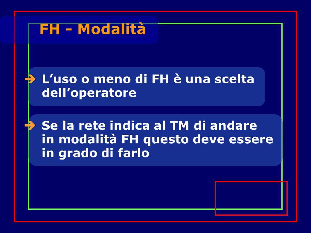 Luso o meno di FH è una scelta delloperatore Se la rete indica al TM di andare in modalità FH questo deve essere in grado di farlo FH - Modalità