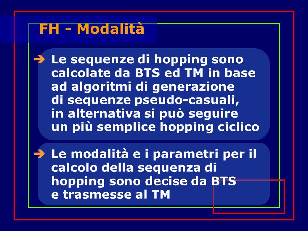 Le sequenze di hopping sono calcolate da BTS ed TM in base ad algoritmi di generazione di sequenze pseudo-casuali, in alternativa si può seguire un più semplice hopping ciclico Le modalità e i parametri per il calcolo della sequenza di hopping sono decise da BTS e trasmesse al TM FH - Modalità
