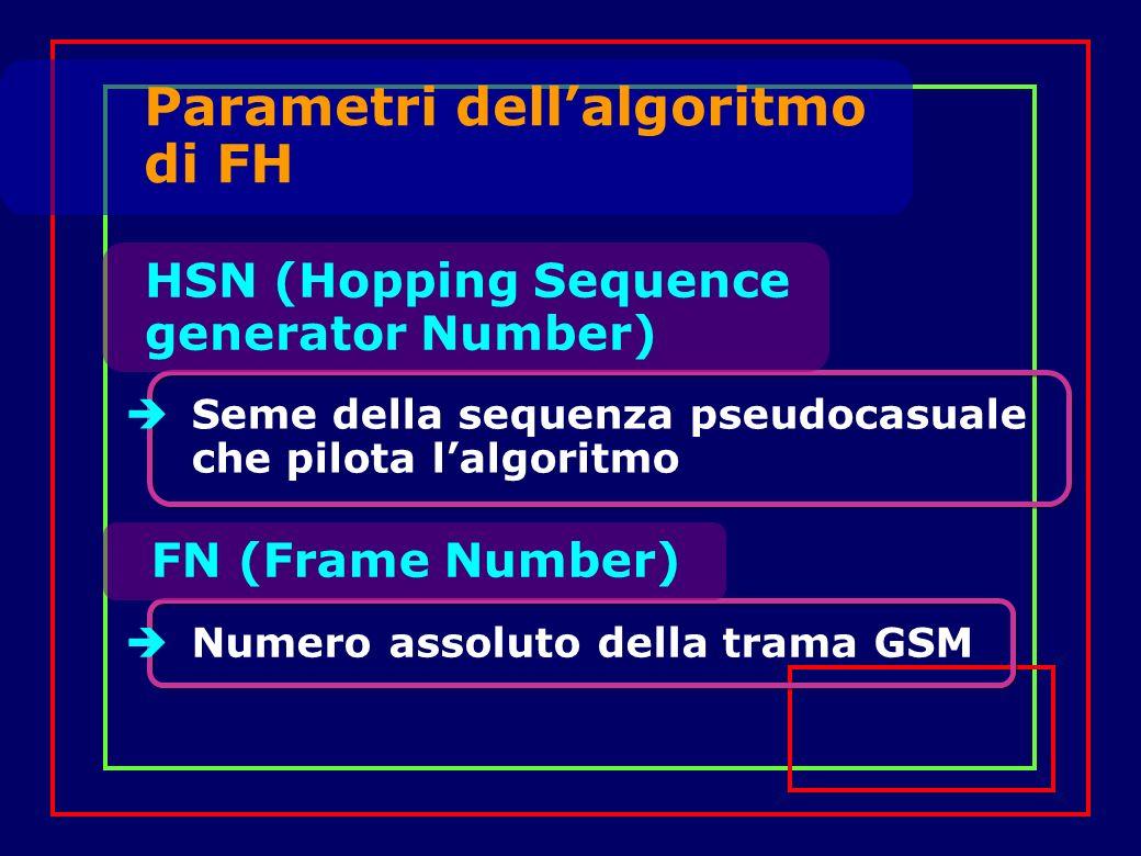 Seme della sequenza pseudocasuale che pilota lalgoritmo FN (Frame Number) Numero assoluto della trama GSM Parametri dellalgoritmo di FH HSN (Hopping Sequence generator Number)