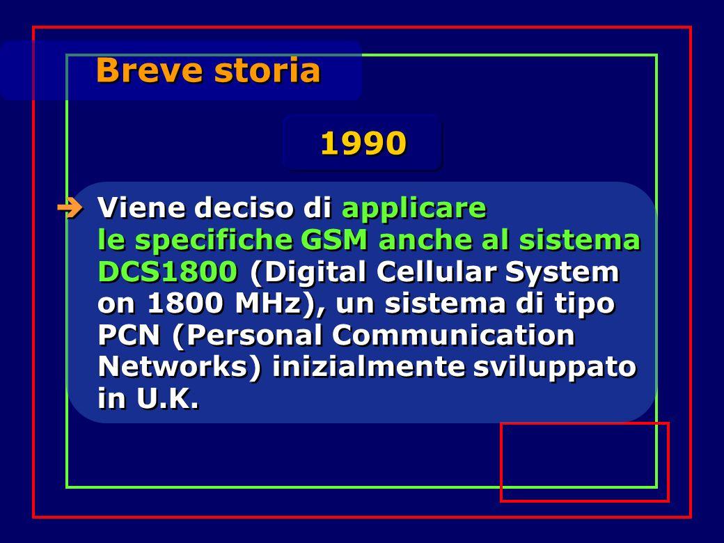 Breve storia Viene deciso di applicare le specifiche GSM anche al sistema DCS1800 (Digital Cellular System on 1800 MHz), un sistema di tipo PCN (Personal Communication Networks) inizialmente sviluppato in U.K.