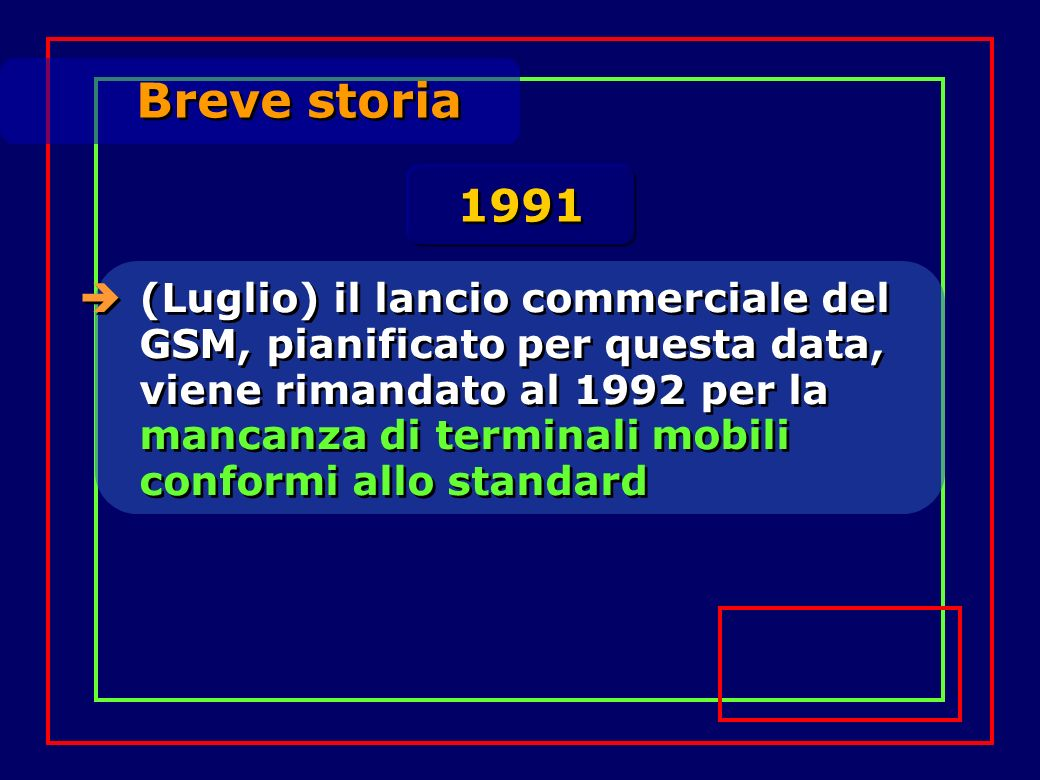 Breve storia (Luglio) il lancio commerciale del GSM, pianificato per questa data, viene rimandato al 1992 per la mancanza di terminali mobili conformi allo standard 1991