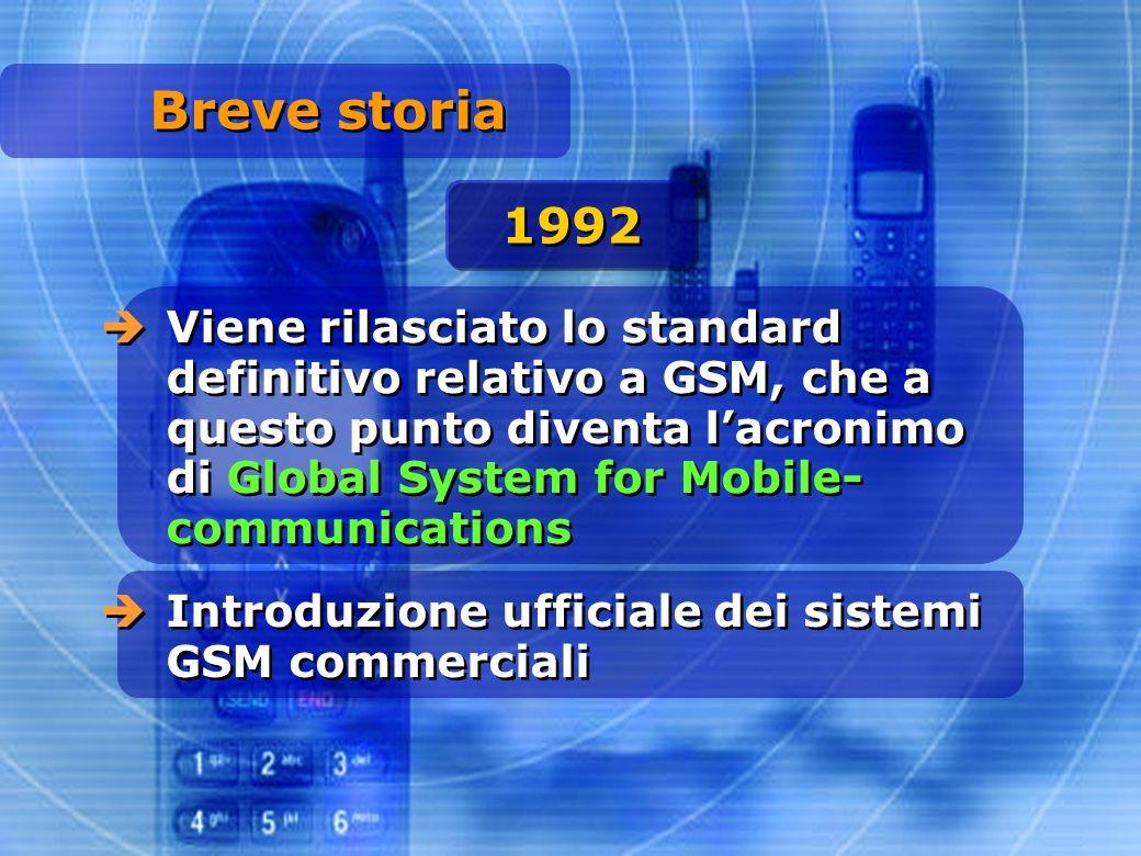 Breve storia Viene rilasciato lo standard definitivo relativo a GSM, che a questo punto diventa lacronimo di Global System for Mobile- communications 1992 Introduzione ufficiale dei sistemi GSM commerciali