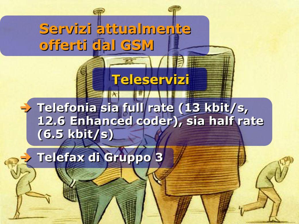 Telefonia sia full rate (13 kbit/s, 12.6 Enhanced coder), sia half rate (6.5 kbit/s) Telefax di Gruppo 3 Teleservizi Servizi attualmente offerti dal G