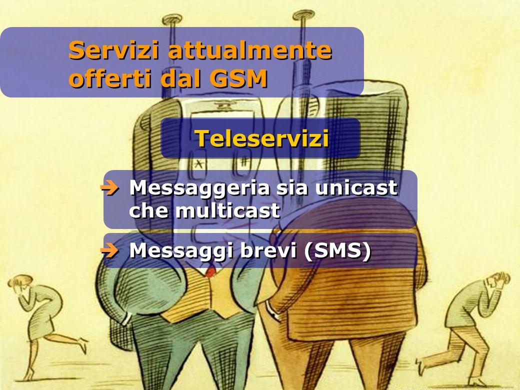 Messaggeria sia unicast che multicast Messaggi brevi (SMS) Teleservizi Servizi attualmente offerti dal GSM