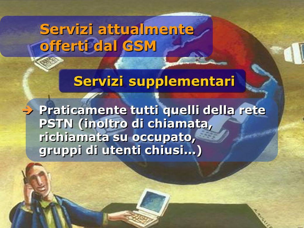 Praticamente tutti quelli della rete PSTN (inoltro di chiamata, richiamata su occupato, gruppi di utenti chiusi...) Servizi supplementari Servizi attualmente offerti dal GSM