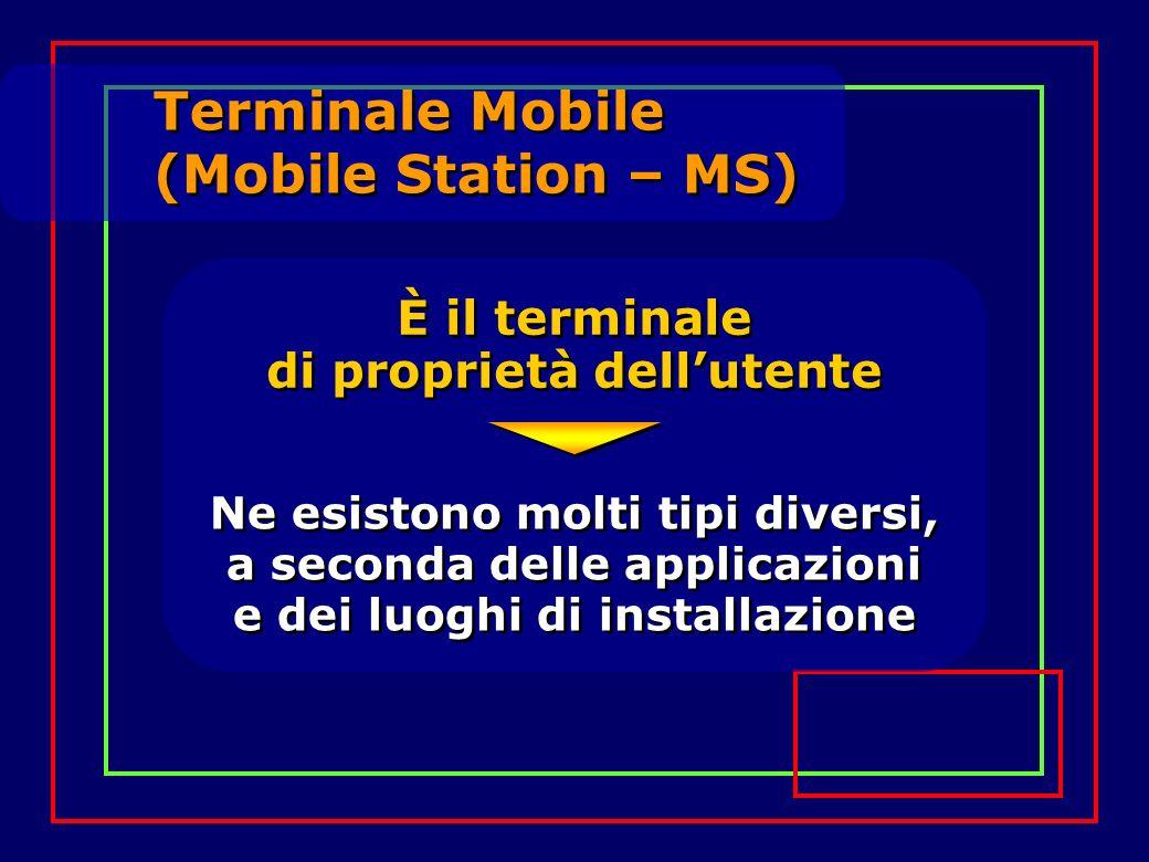 È il terminale di proprietà dellutente Terminale Mobile (Mobile Station – MS) Ne esistono molti tipi diversi, a seconda delle applicazioni e dei luoghi di installazione