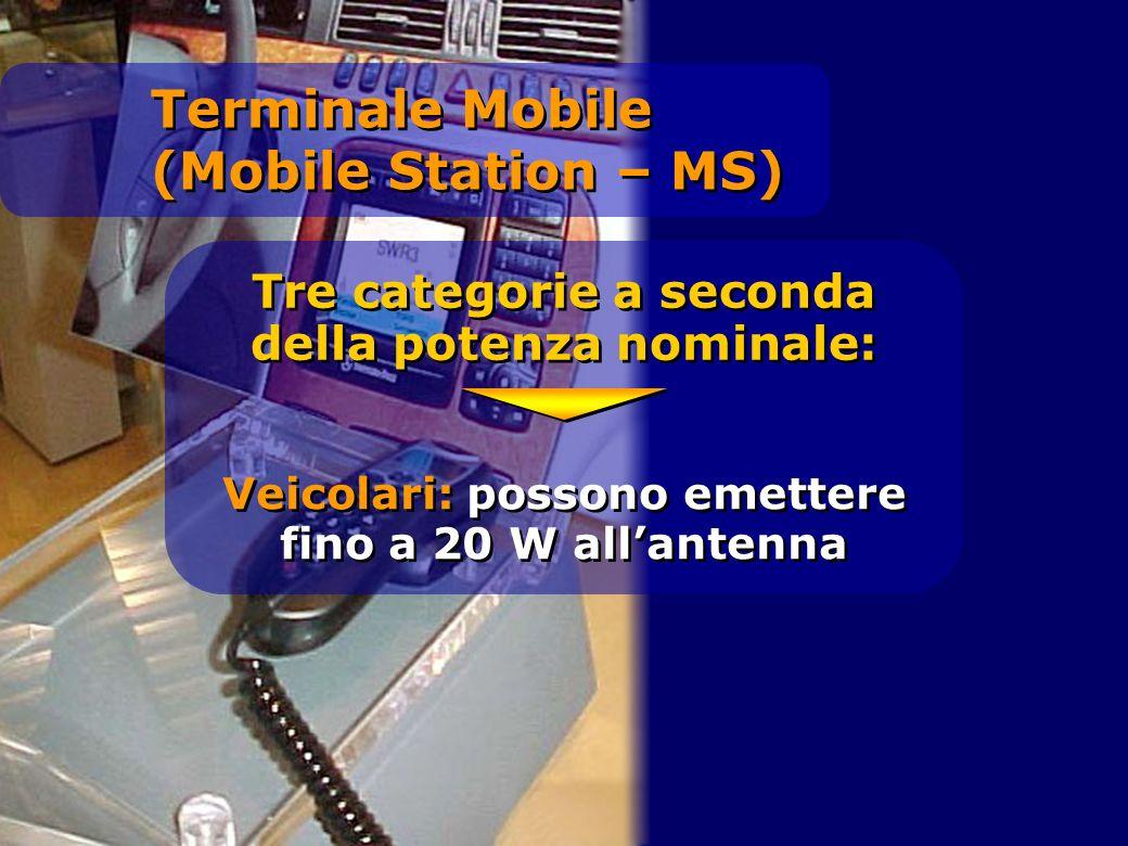 Tre categorie a seconda della potenza nominale: Veicolari: possono emettere fino a 20 W allantenna Terminale Mobile (Mobile Station – MS)