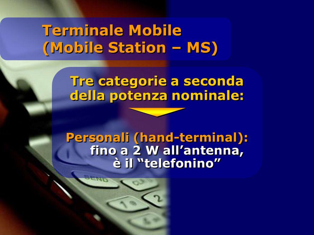 Tre categorie a seconda della potenza nominale: Personali (hand-terminal): fino a 2 W allantenna, è il telefonino Terminale Mobile (Mobile Station – MS)